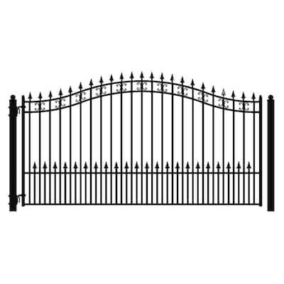 St. Petersburg Style 18 ft. x 6 ft. Black Steel Single Swing Driveway Fence Gate