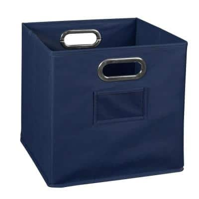 Cheer 12 in. D x 12 in. H x 12 in. W Blue Fabric Cube Storage Bin