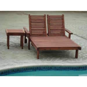 Double Sun Mission Brown finish Redwood Outdoor Chaise Lounge