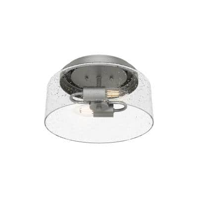 Hartland 12 in. 2-Light Matte Silver Flush Mount