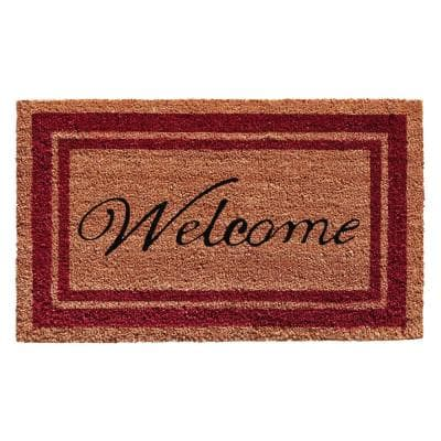 Burgundy Border Welcome Door Mat 18 in. x 30 in.
