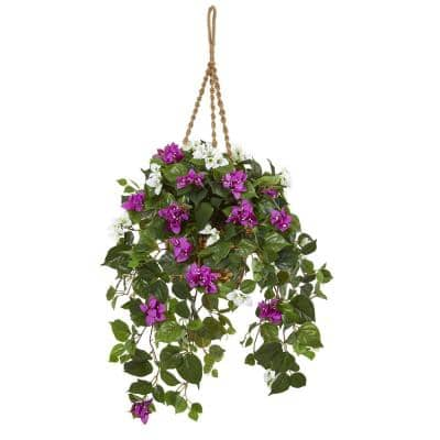 30 in. Indoor Mixed Bougainvillea Artificial Plant Hanging Basket