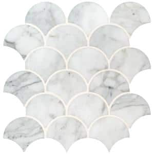 Calacatta Blanco Scallop 12.8 in. x 10.43 in. x 10 mm Polished Marble Mosaic Tile (9.3 sq. ft. / case)