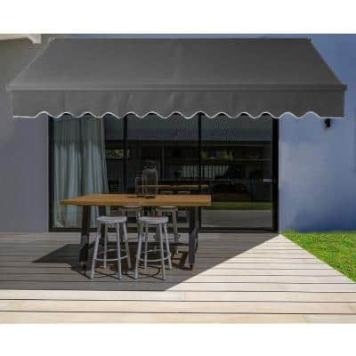 10 x 8 ft. Retractable Black Frame Patio Awning in Black
