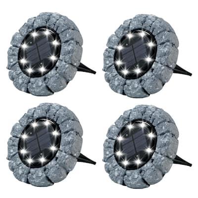 6000K Ultra-Solar Dark Gray Stone Like Outdoor Integrated LED Landscape Path Disk Lights (4 per Box)
