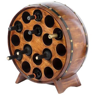 Wooden Stackable Round Shaped Wine Barrel Wine Rack, 1-Rack