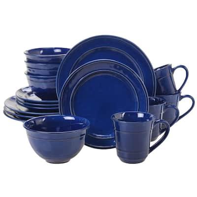 Orbit 16-Piece Traditional Cobalt Blue Ceramic Dinnerware Set (Service for 4)