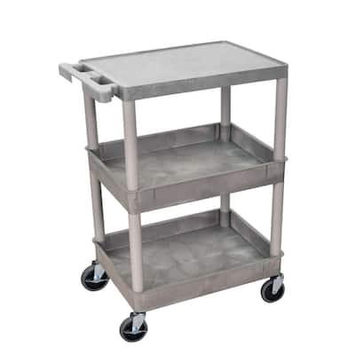 STC 24 in. 3-Shelf Utility Cart in Gray