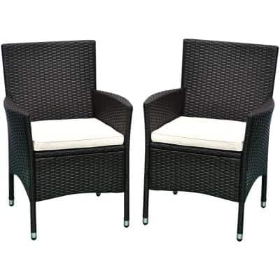 Grey Lightweight Plastic Rattan Wicker Outdoor Lounge Chair with White Cushion (2-Piece)