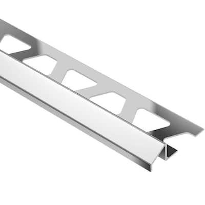 Reno-U Stainless Steel 7/16 in. x 8 ft. 2-1/2 in. Metal Reducer Tile Edging Trim