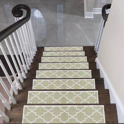 """Lattice Design 9"""" X 28"""" Stair Treads - 70 % Cotton Carpet for Indoor Stairs-with Double Adhesive Tape-Safe,13-Pack-Beige"""
