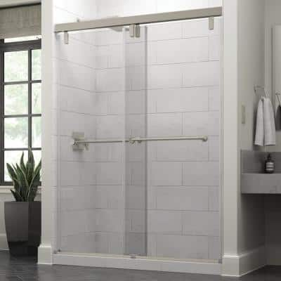 Everly 60 x 71-1/2 in. Frameless Mod Soft-Close Sliding Shower Door in Nickel with 3/8 in. (10mm) Clear Glass