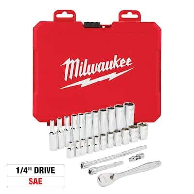 1/4 in. Drive SAE Ratchet and Socket Mechanics Tool Set (26-Piece)