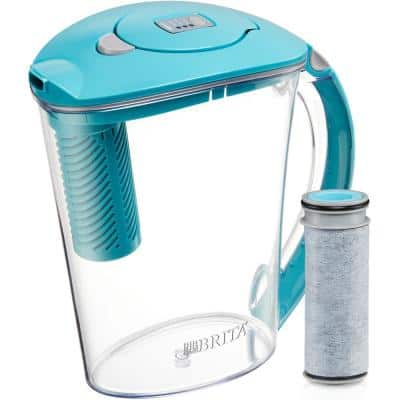 Stream Rapids 10-Cup Filter as You Pour Water Pitcher in Lake Blue with Water Filter, BPA Free