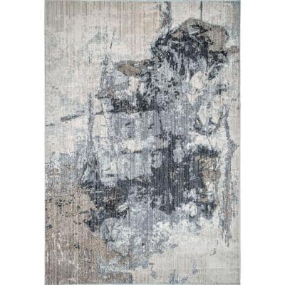 Abstract Rivera Gray 12 ft. x 15 ft. Area Rug
