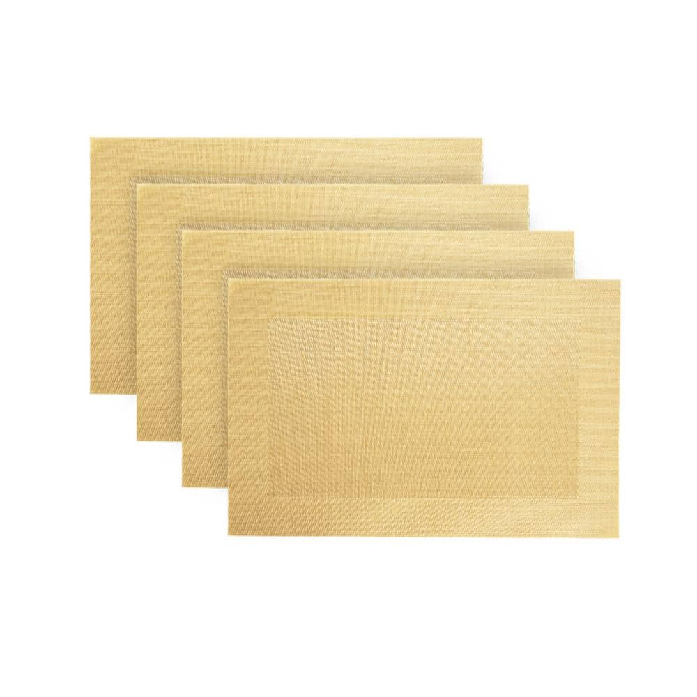 Gold Tan Beige Graduated Geometric Pattern Cotton//Poly NEW Set of 4 Placemats