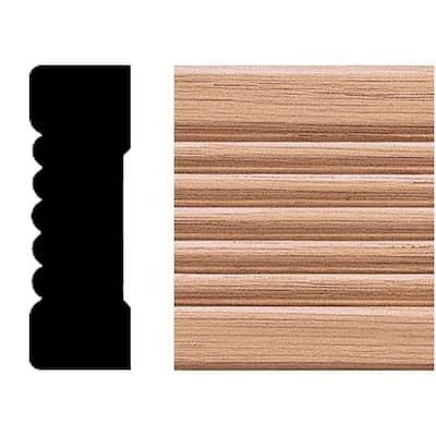 3/4 in. x 2-1/4 in. x 8 ft. Oak Wood Fluted Casing Moulding