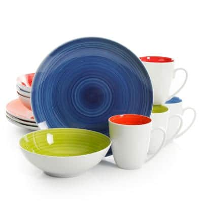 Crenshaw 12 Piece Round Ceramic Dinnerware Set in Assorted Colors, Service for 4