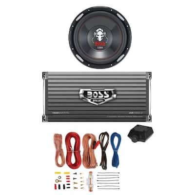 BOSS P126DVC 12 in. 2300-Watt Car Subwoofer + AR16002 1600-Watt 2-Ch Amp + 8 Gauge Amp Kit