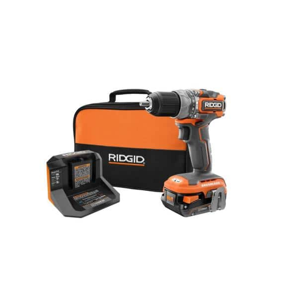 RIDGID 18V SubCompact Brushless 1/2 In. Hammer Drill/Driver Kit with (1) 2.0 Ah Battery, Charger, and Bag | The Home Depot