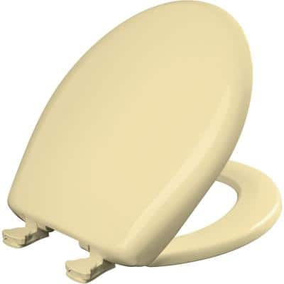 Slow Close STA-TITE Round Closed Front Toilet Seat in Creamy Yellow