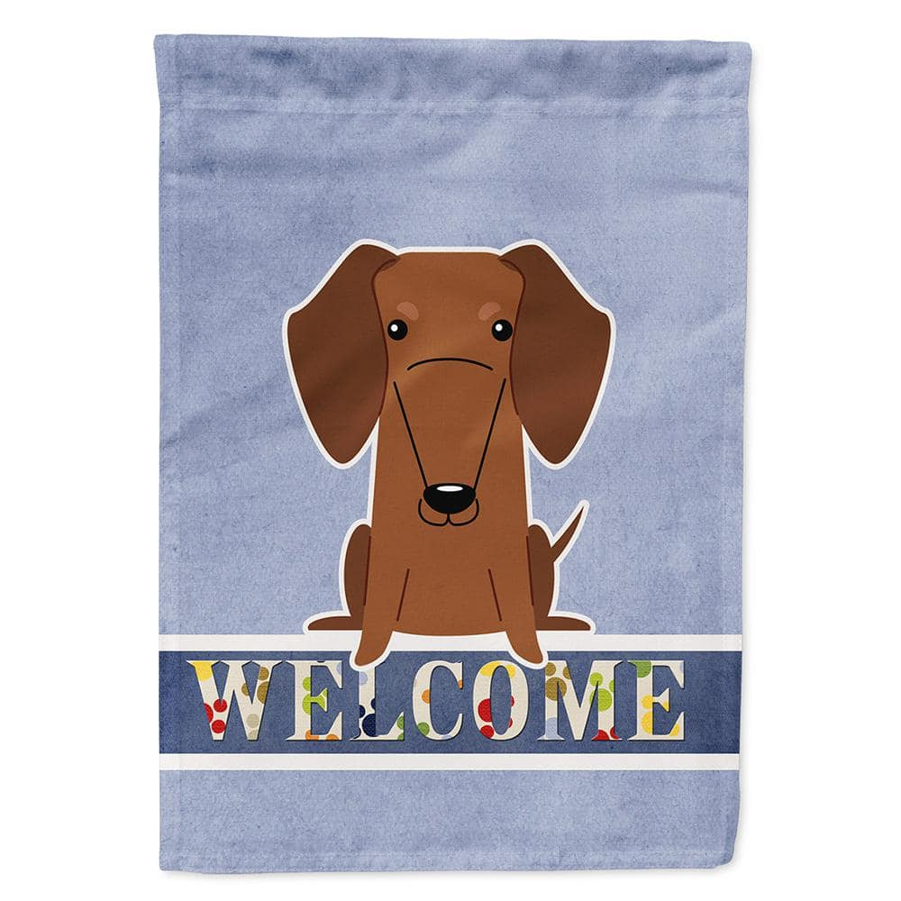 Caroline S Treasures 11 In X 15 1 2 Polyester Dachshund Red Brown Welcome Sided Ply Garden Flag Bb5711gf The Home Depot