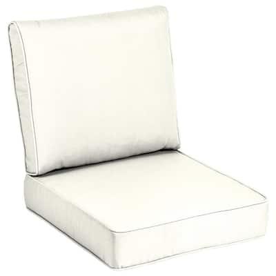 24 x 24 Sunbrella Canvas White Outdoor Lounge Chair Cushion