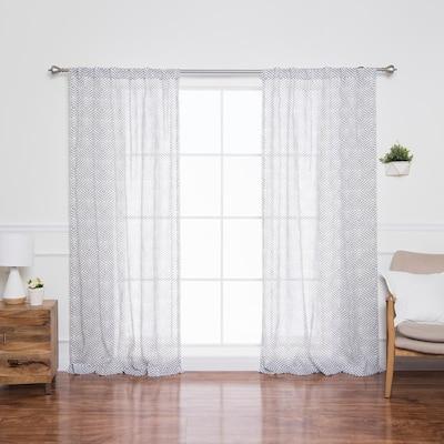 White Geometric Faux Linen Rod Pocket Sheer Curtain - 52 in. W x 84 in. L (Set of 2)