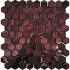 Red 11.3-in. x 11.3-in. Hexagon Polished Glass Mosaic Tile (4.43 Sq ft/case)