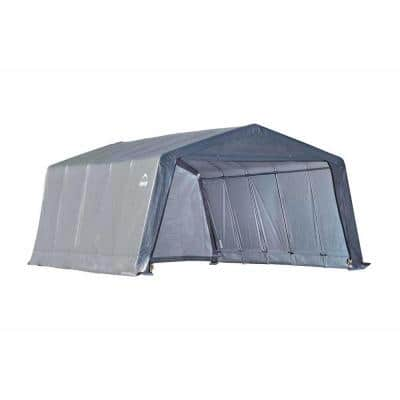 12 ft. W x 20 ft. D x 8 ft. H Peak-Style Garage-in-a-Box in Grey with All-Steel Frame and Patent-Pending Stabilizers