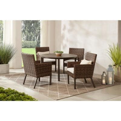 Fernlake 5-Piece Taupe Wicker Outdoor Patio Dining Set with CushionGuard Almond Tan Cushions