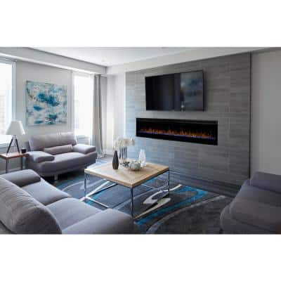 Prism 74 in. Wall-Mounted Electric Fireplace with Acrylic Ember Bed