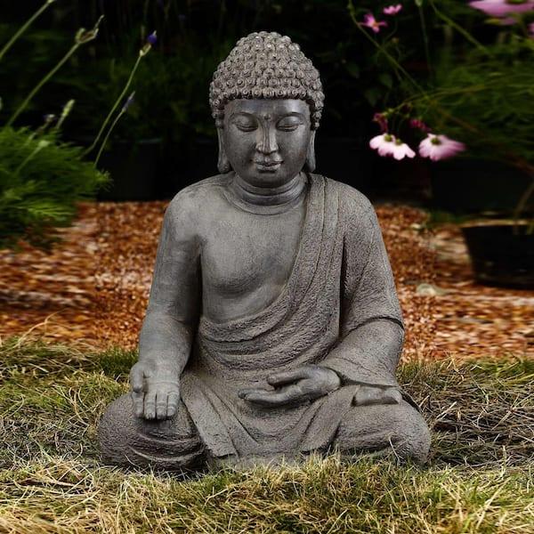 Luxen Home Meditating Buddha Garden Statue Wh005 The Home Depot
