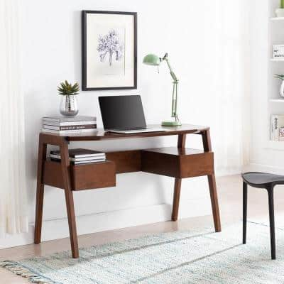 48.25 in. Dark Tobacco Rectangular 2 -Drawer Writing Desk with Storage