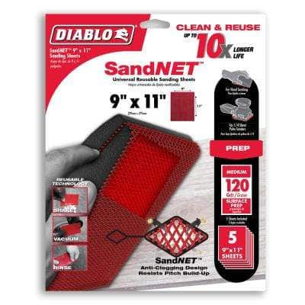 9 in. x 11 in. SandNET Faster Reusable Hand Sanding Sheets 120 Grit (5-Pack)