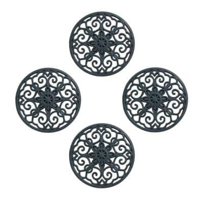 A1HC Set of 4 Garden Stepping Stone, Black 12 in. x 12 in. Rubber, Outdoor Decorative Tray, Step Mat