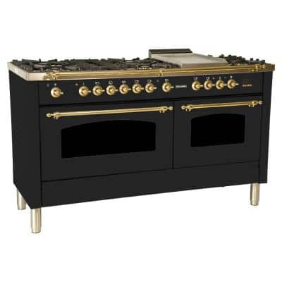60 in. 6 cu. ft. Double Oven Dual Fuel Italian Range True Convection, 8 Burners, Griddle, Brass Trim in Glossy Black
