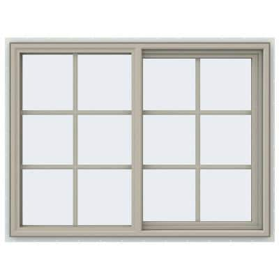 47.5 in. x 35.5 in. V-4500 Series Desert Sand Vinyl Right-Handed Sliding Window with Colonial Grids/Grilles