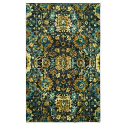 Mansfield Water Teal 8 ft. x 10 ft. Abstract Area Rug