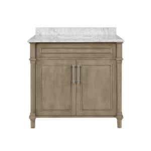 Aberdeen 36 in. x 22 in. D Bath Vanity in Antique Oak with Carrara Marble Vanity Top in White with White Basin