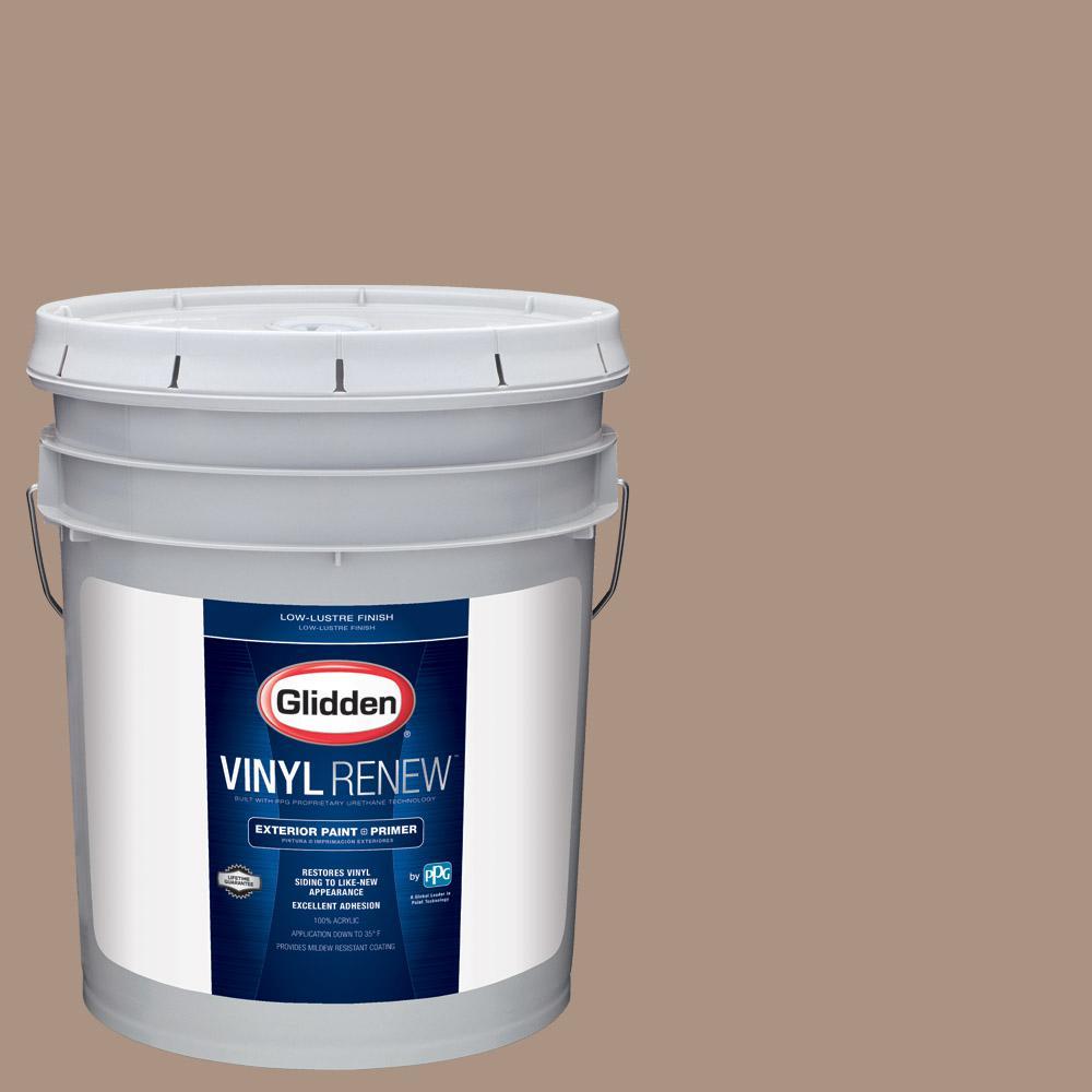 5 gal. #HDGWN01D Woodruff Beige Low-Lustre Exterior Paint with Primer
