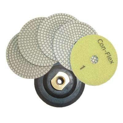 4 in. Con-Flex 5-Step Diamond Polishing Pads for Concrete 1 Each Step (Set of 5) with 4 in. Back Holder Semi Rigid