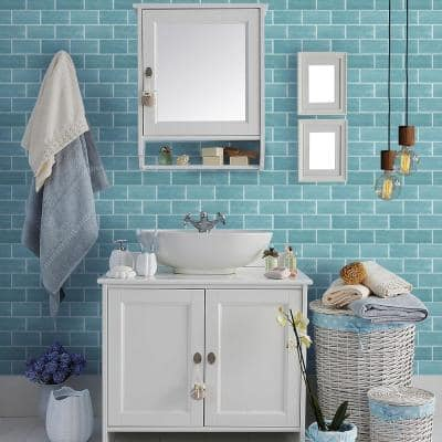 Aquamarine Blue 3 in. x 6 in. Glossy Textured Ceramic Wall Tile (10 sq. ft./Case)