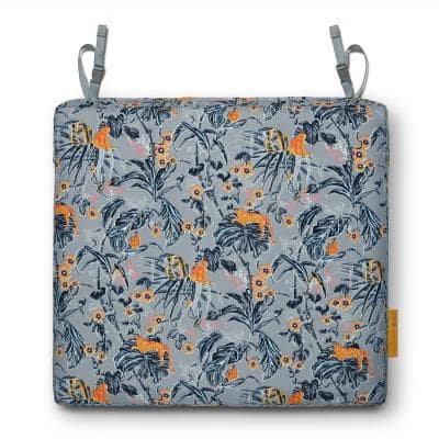 Vera Bradley 17 in. L x 17 in D x 3 in. Thick Patio Seat Cushion in Rain Forest Toile Gray/Gold