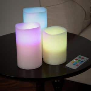 6 in. H Color Changing LED Flameless Candle Set with Remote (3-Piece)