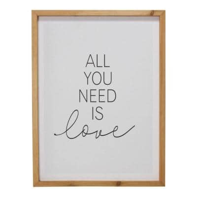 Homeroots Victoria Wooden Brown All You Need Is Love Framed Wall Art 376633 The Home Depot