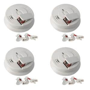 Firex Hardwired Smoke Detector with Adapters, 9-Volt Battery Backup, and Front Load Battery Door (4-Pack)