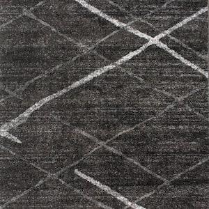Thigpen Contemporary Stripes Dark Gray 8 ft. Square Rug