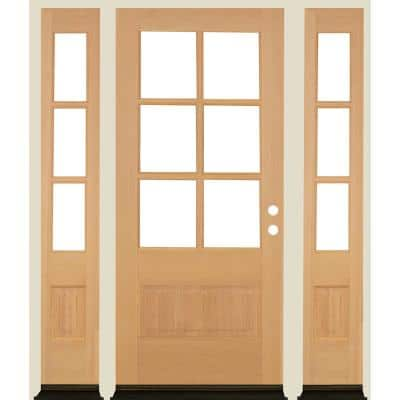 64 in. x 80 in. Farmhouse LH 3/4 Lite Clear Glass Unfinished Douglas Fir Prehung Front Door with DSL