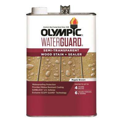 WaterGuard 1 gal. Maple Brown Semi-Transparent Wood Stain and Sealer